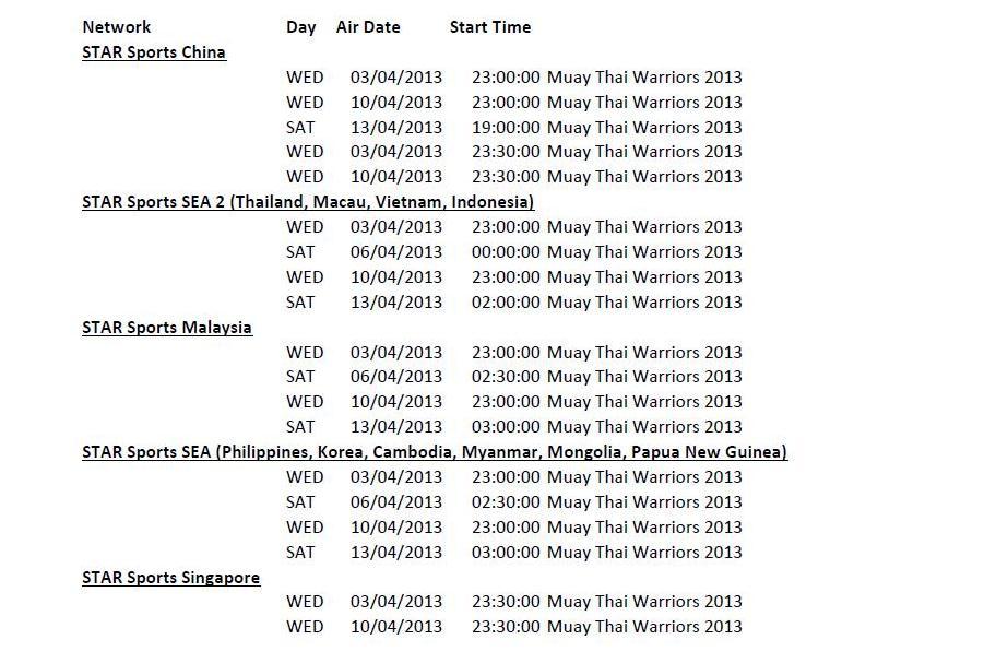 WMC Muaythai Warriors Schedule